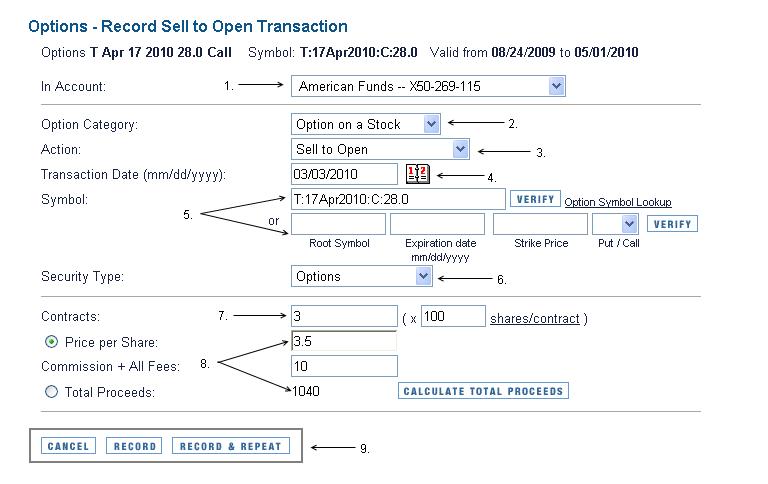 Recording Option Transactions