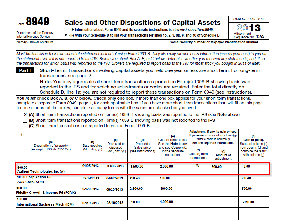 How to report stock options on form 8949